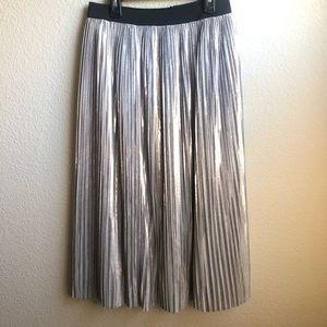 INC pleated flowy metallic silver midi skirt